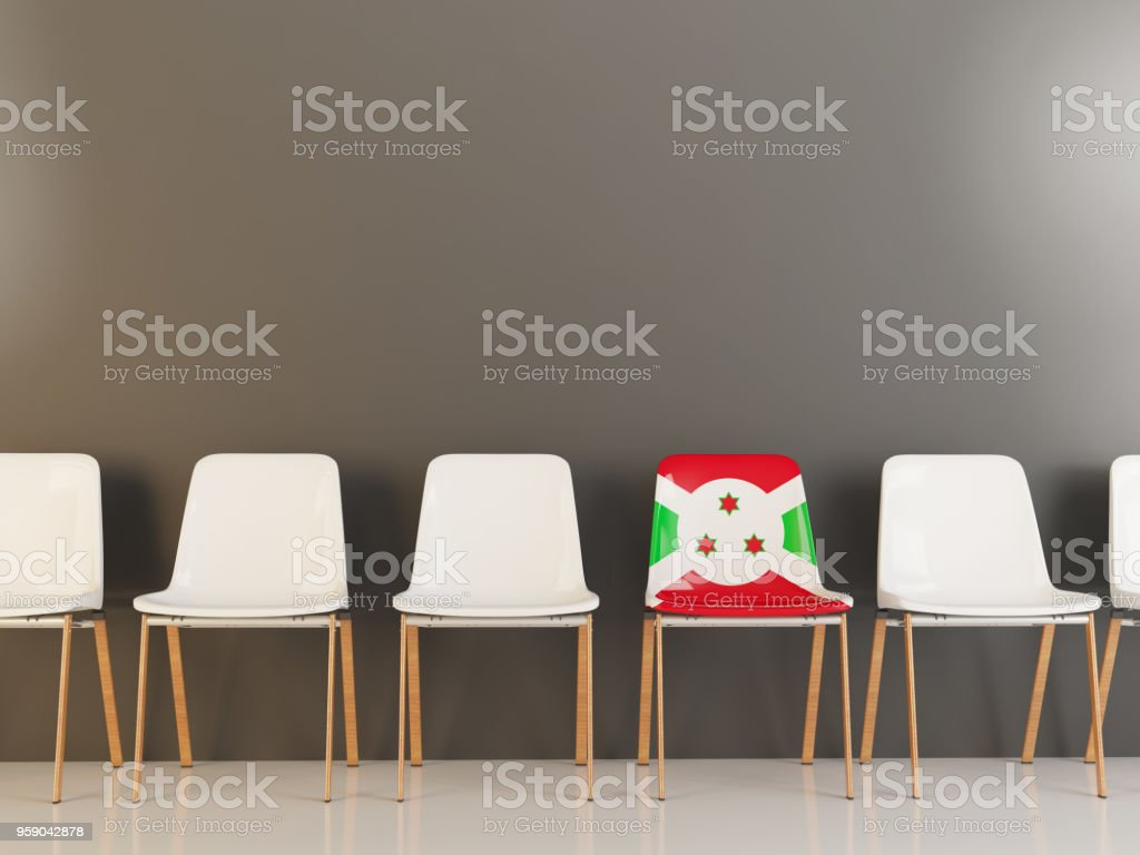 Chair with flag of burundi stock photo