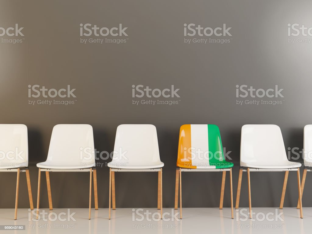 Chair with flag of cote d'Ivoire stock photo