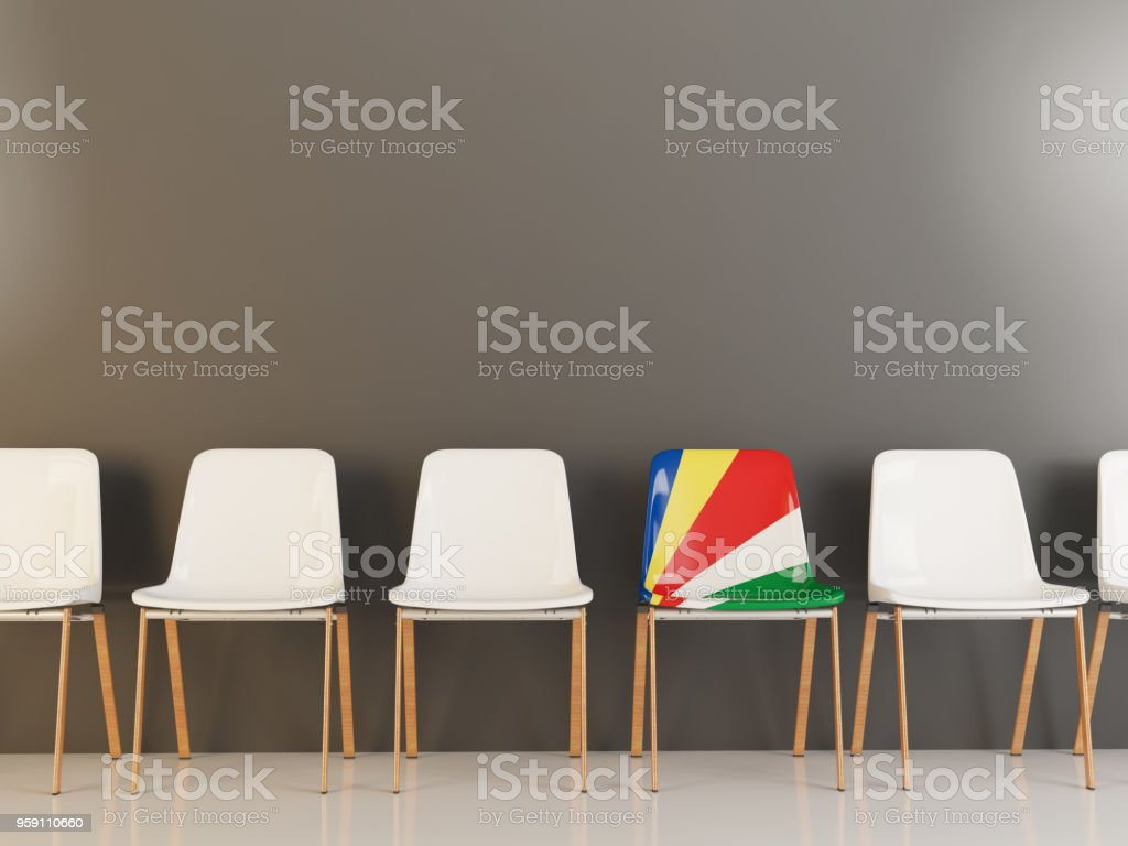 Chair with flag of seychelles stock photo