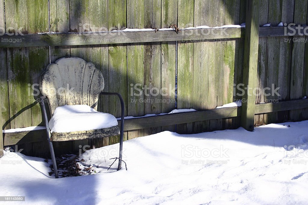 Chair with Snow II stock photo