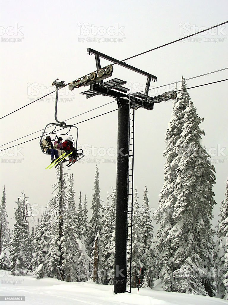 Chairlift 2 (with people) stock photo