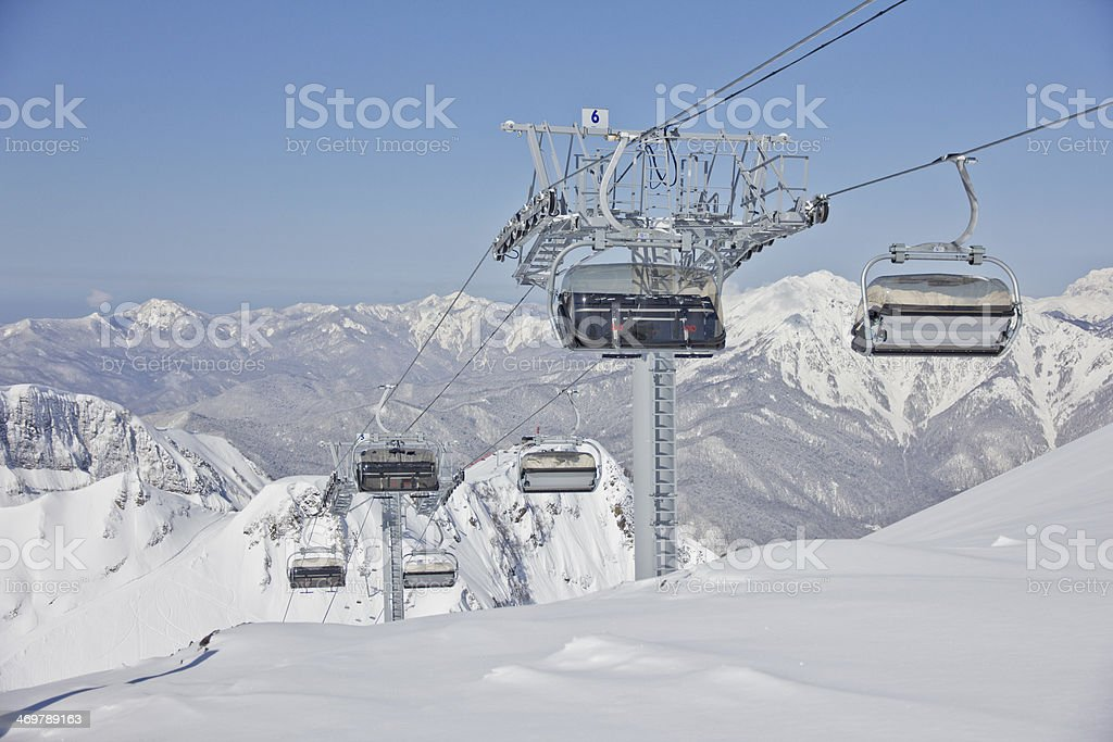 Chairlift in a ski resort ( Sochi, Russia ) royalty-free stock photo