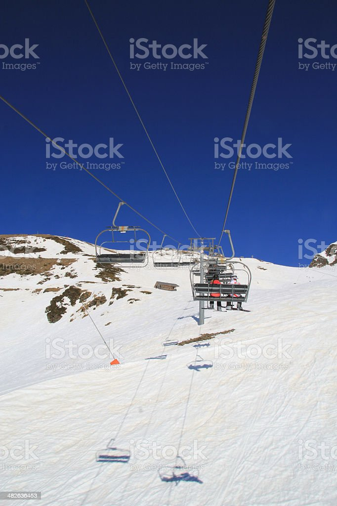 Chairlift in Prapoutel, les sept laux. royalty-free stock photo