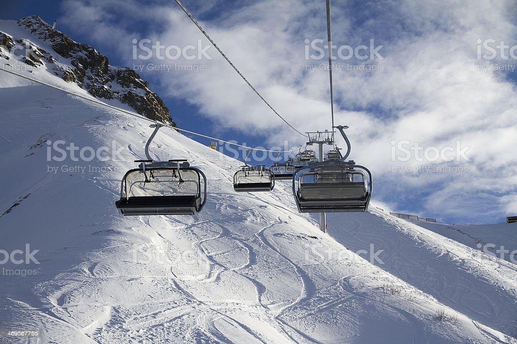 Chairlift in ski resort Krasnaya Polyana, Russia royalty-free stock photo