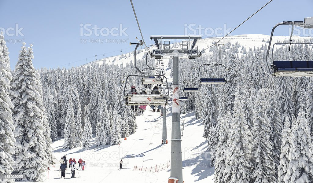 chairlift on a ski resort stock photo