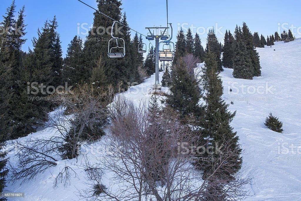 chairlift on nature, Kazakhstan royalty-free stock photo