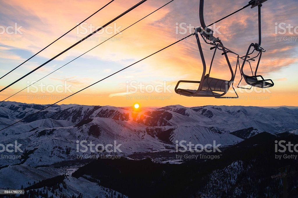 Chairlift Sunrise - Sun Valley, Idaho stock photo