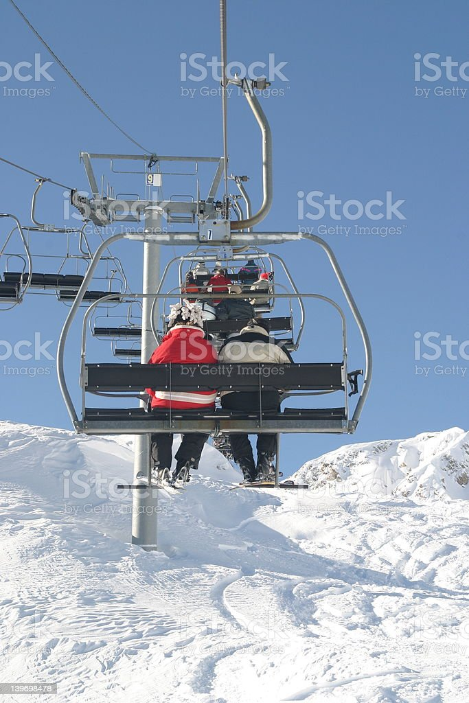 Chairlift to the summit royalty-free stock photo