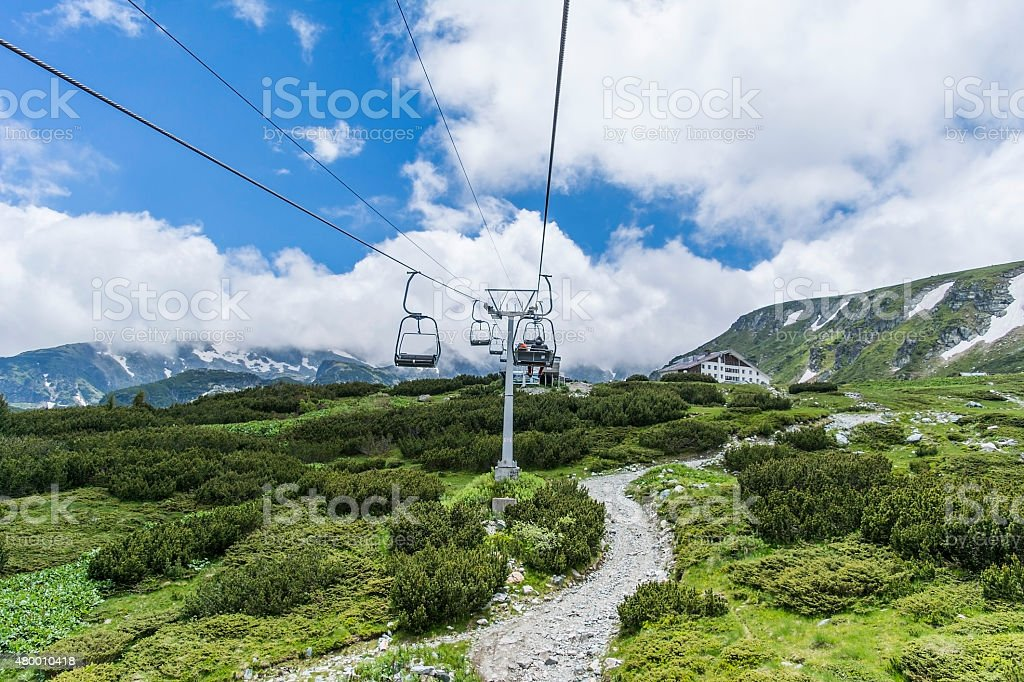 Chairlift view in Rila mountain stock photo