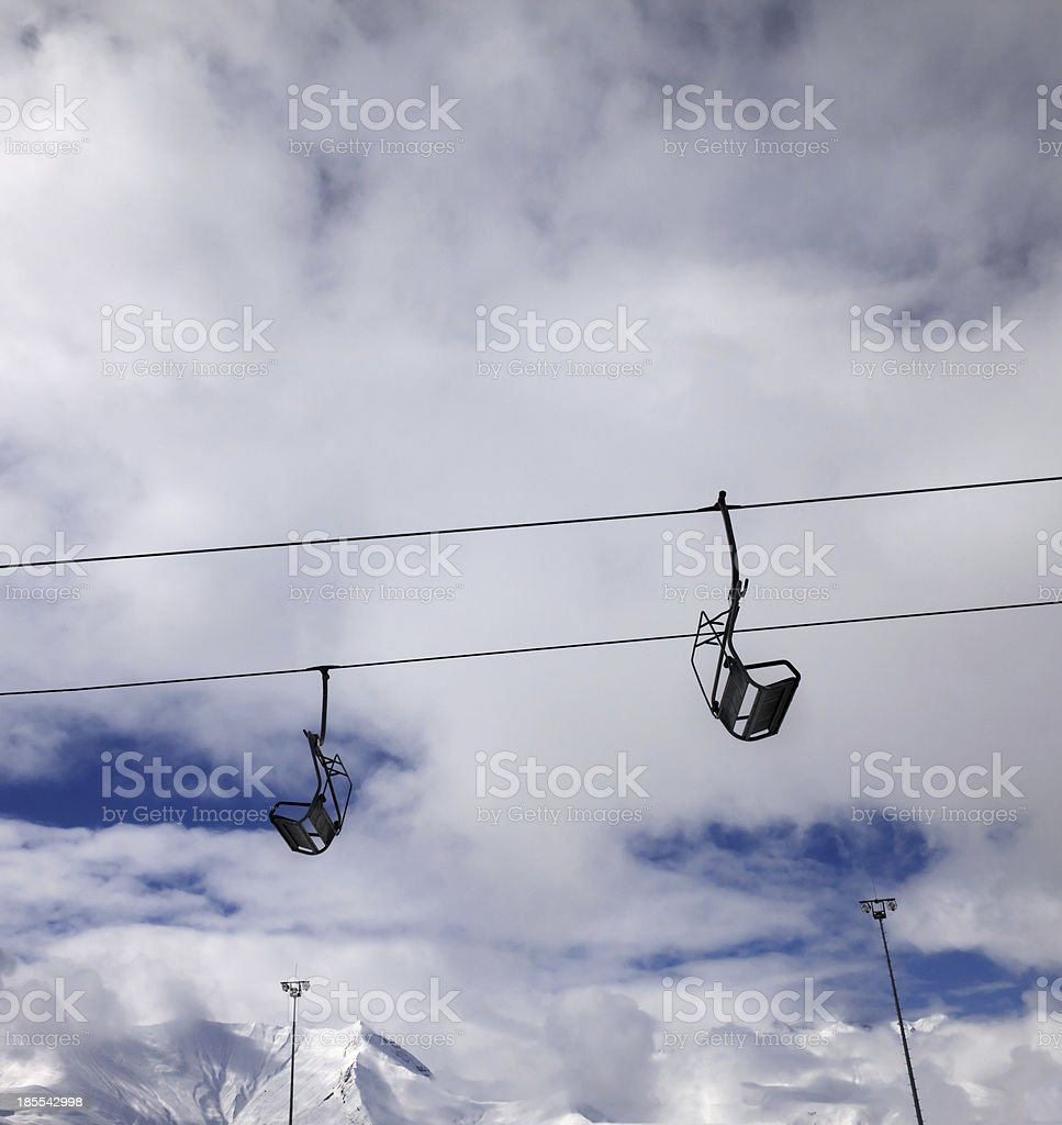 Chair-lift wide-angle view royalty-free stock photo