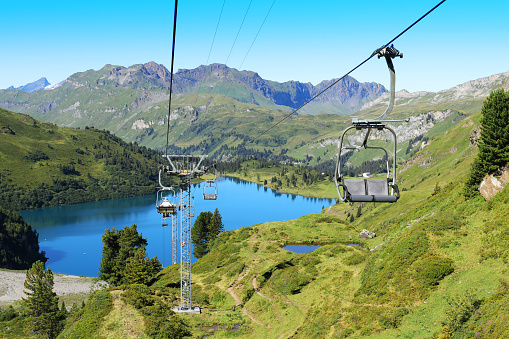 Chairlifts at Engstlen Mountain Lake in Engelberg Switzerland