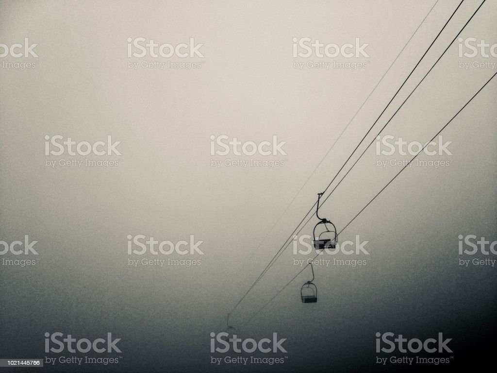 Chairlifts in Pyrénées. stock photo