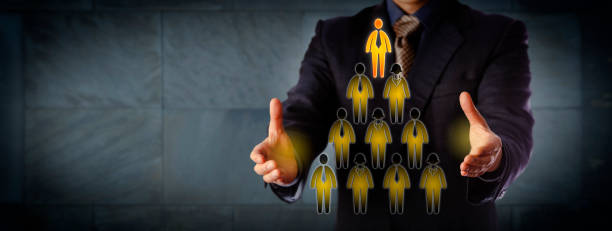 Chairman Building Triangular Management Hierarchy stock photo