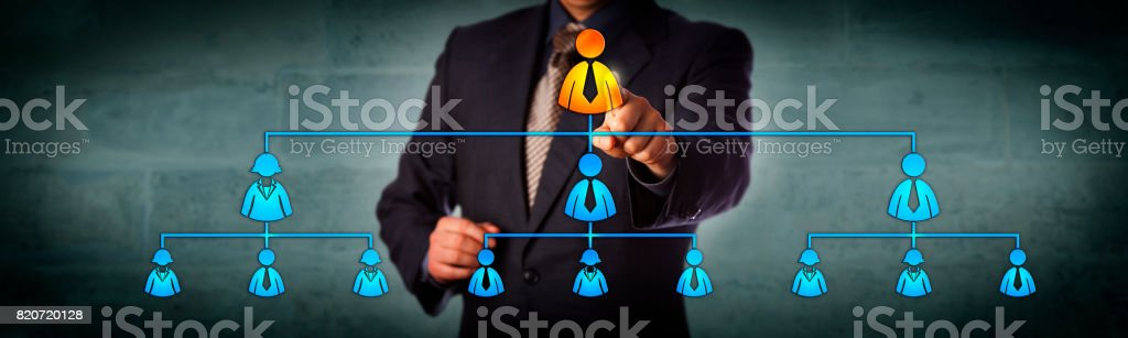 Chairman Highlighting CEO In Organization Chart stock photo