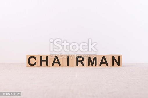 chairman word concept made of building blocks on white background