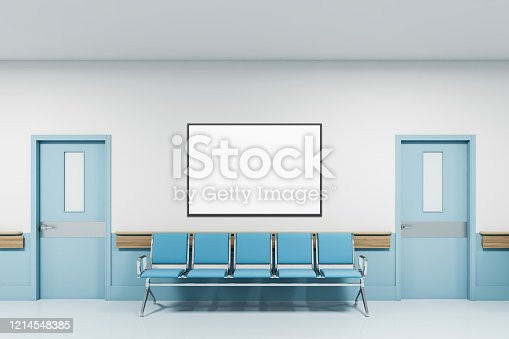 Horizontal mock up poster frame hanging above blue chairs in clean modern hospital corridor. Concept of healthcare and coronavirus. 3d rendering