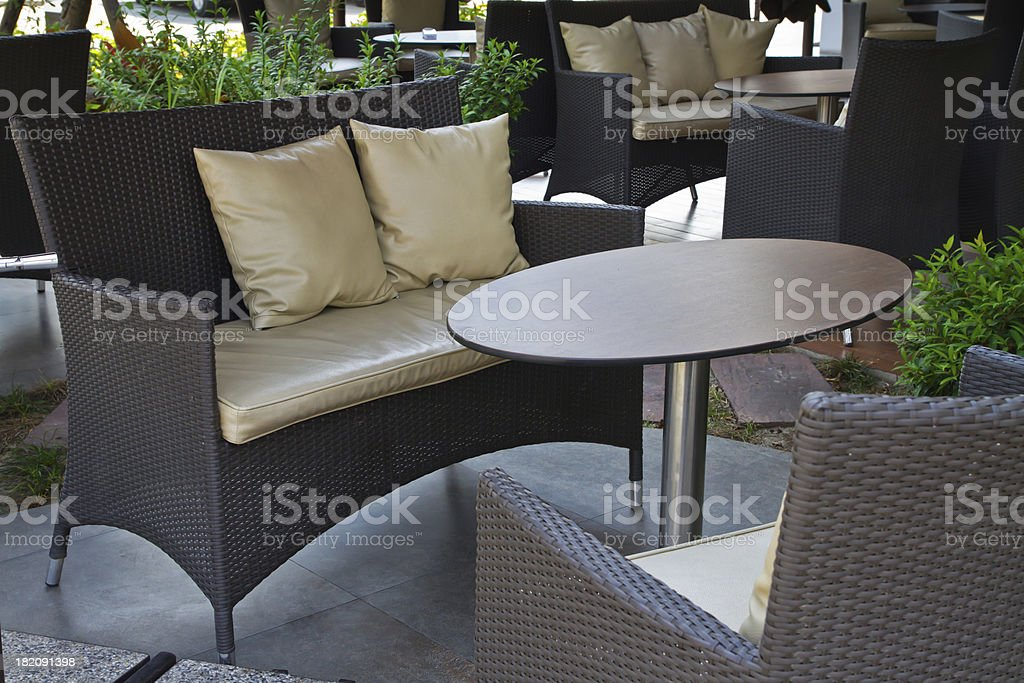 Chairs and table in the cafe royalty-free stock photo