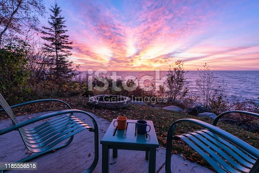 876420064istockphoto Chairs and Table over looking Lake Superior stock photo 1185556515