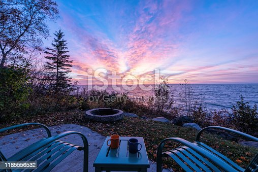 876420064istockphoto Chairs and Table over looking Lake Superior stock photo 1185556532