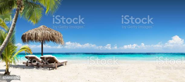 Chairs And Umbrella In Coral Beach - Tropical Resort Banner