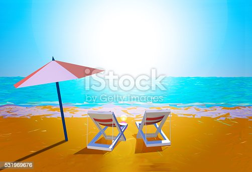 istock Chairs and umbrella on the beach 531969676