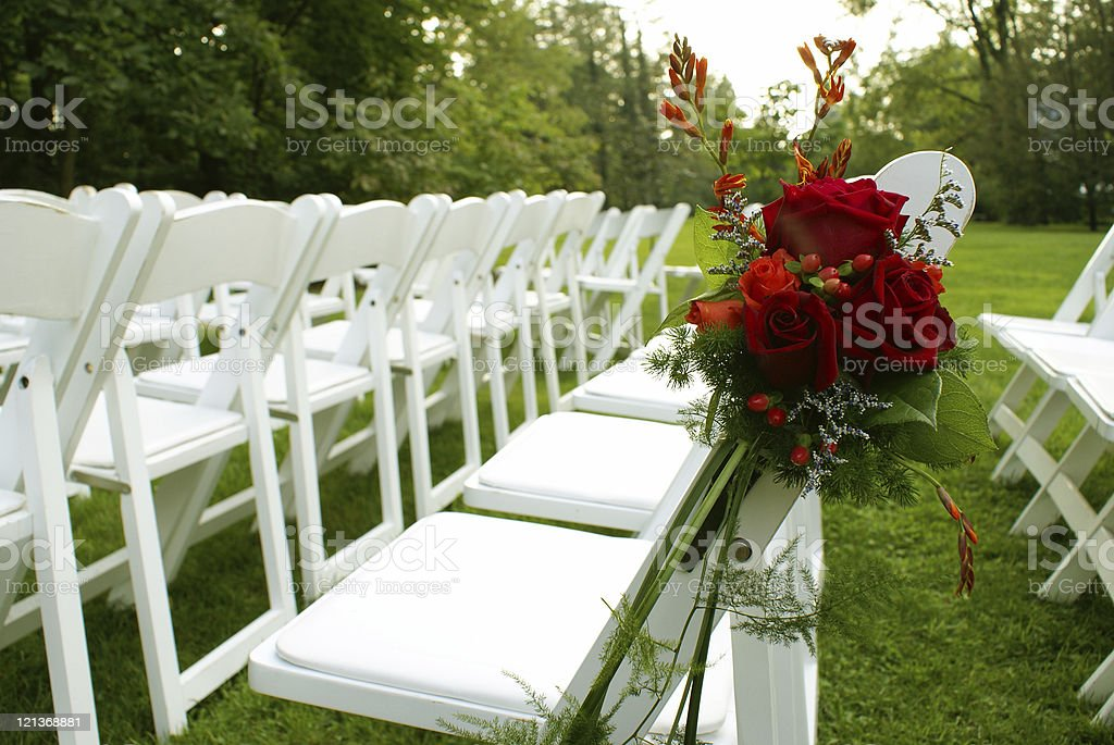 Chairs and Wedding Flowers royalty-free stock photo