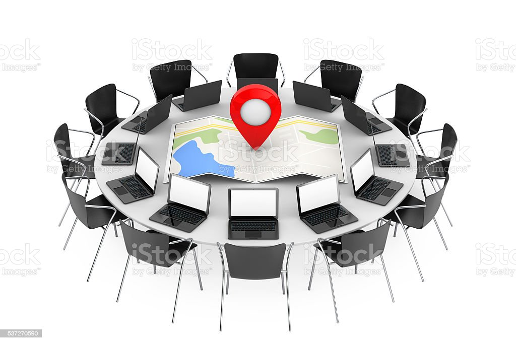 Chairs around a Table with Folded Abstract Navigation Map stock photo