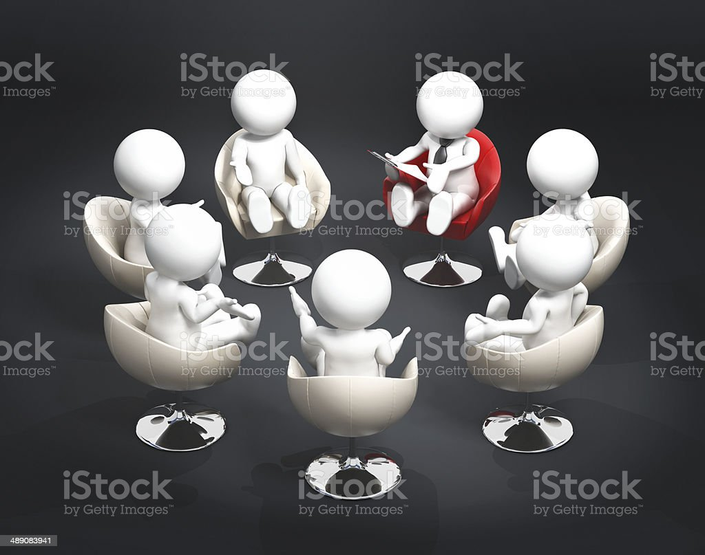 Chairs arranged as a circle - Group Meeting stock photo