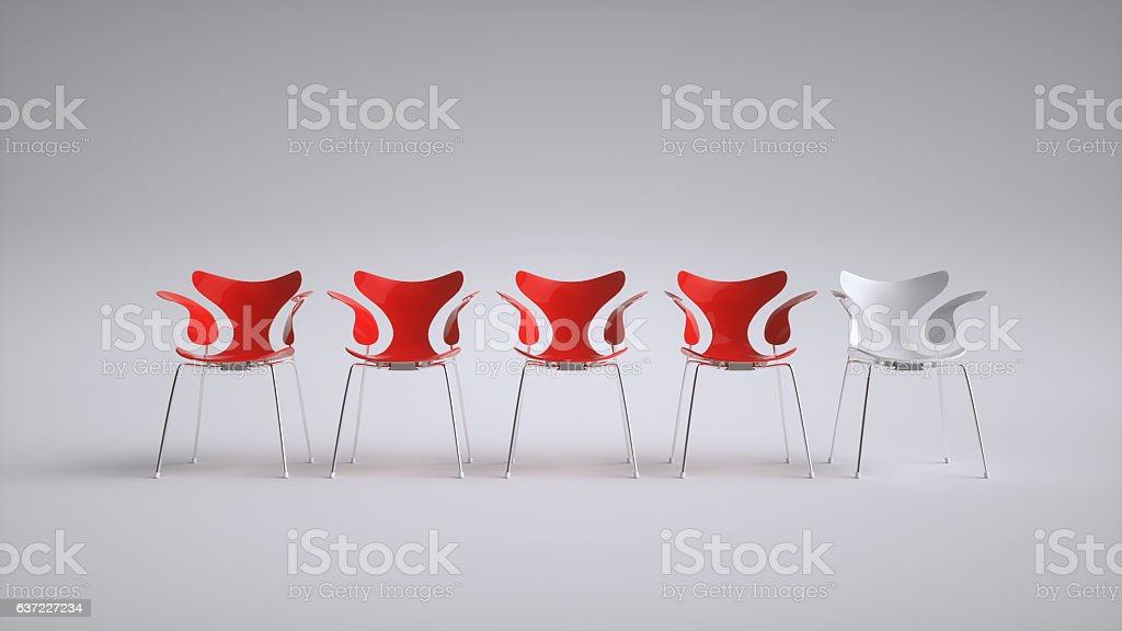 Chairs arranged for a meeting - 3D Rendering stock photo