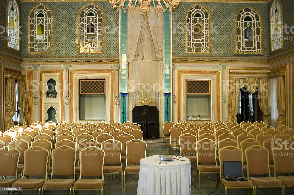 Chairs arranged in empty conference hall, Sepetçiler Kasrı, Istanbul, Turkey royalty-free stock photo