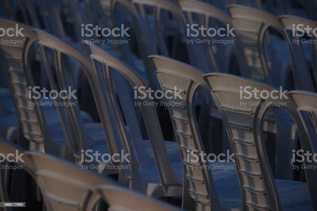 Chairs arranged in the stadium