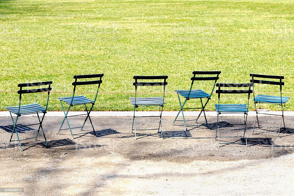 Chairs at Bryant Park in New York City stock photo