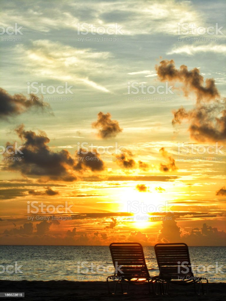 Chairs At Sunset royalty-free stock photo