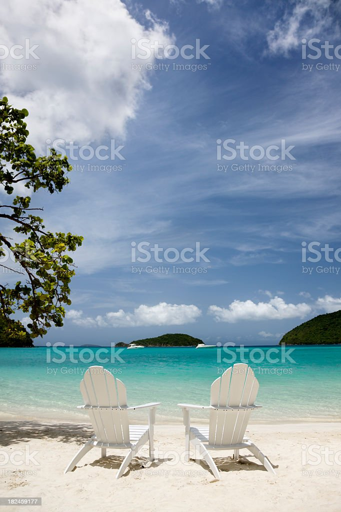 chairs at the Virgin Islands beach royalty-free stock photo