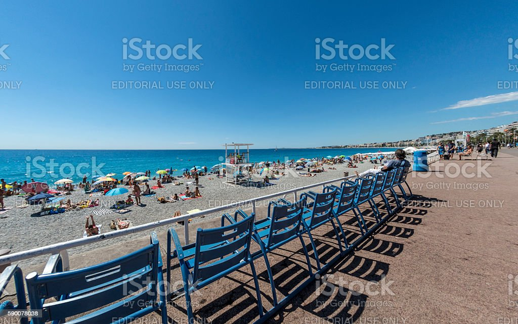 Chairs by the beach in Nice, France stock photo