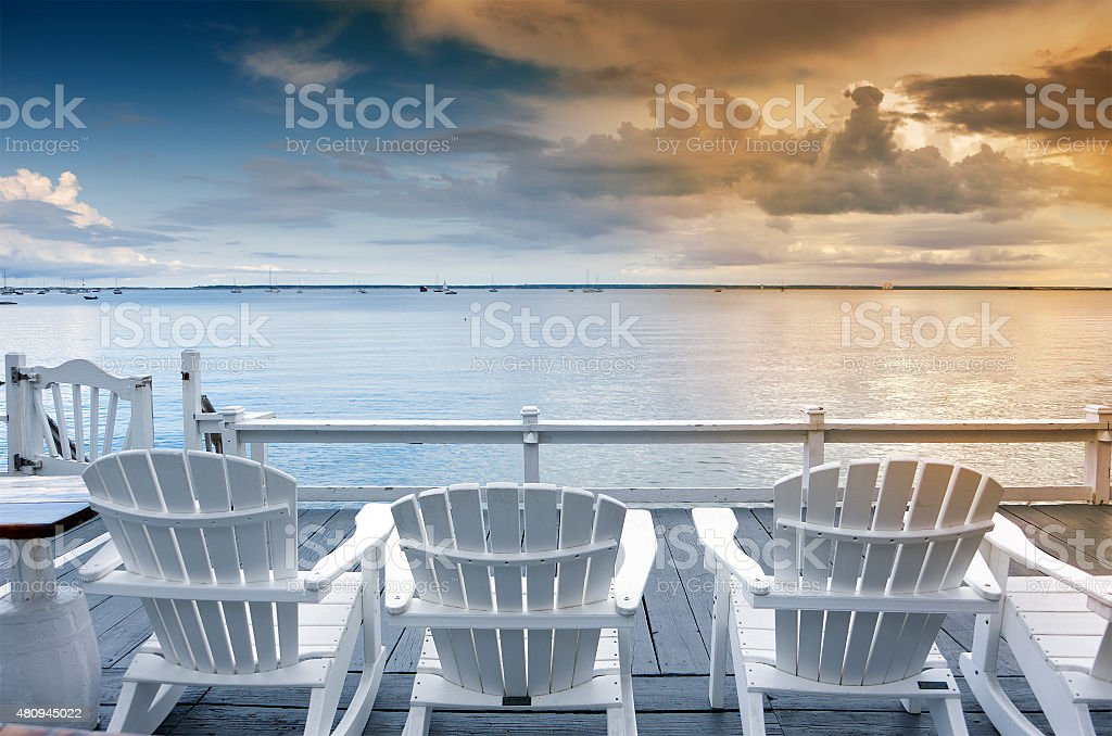 Chairs by the sea stock photo