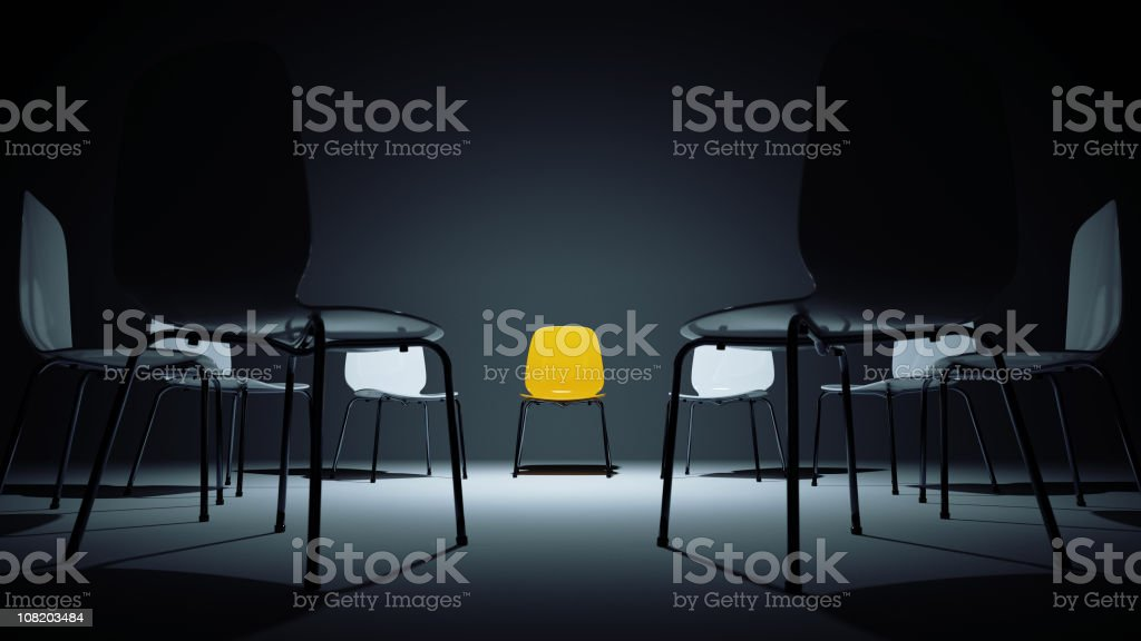 chairs in a circle stock photo