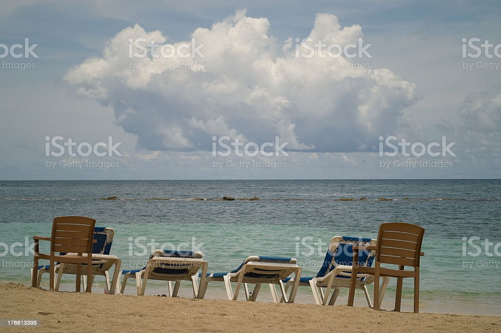chairs in Caribbean royalty-free stock photo