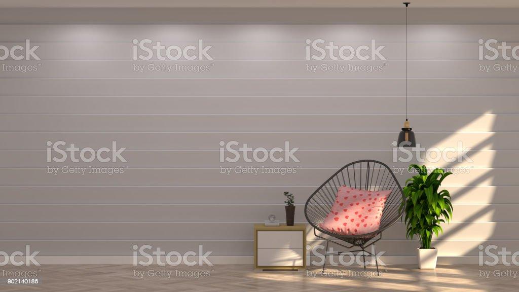 stuhle vor grauen wand mit dekorativen elementen in vintage leeren raum offene tur 3d