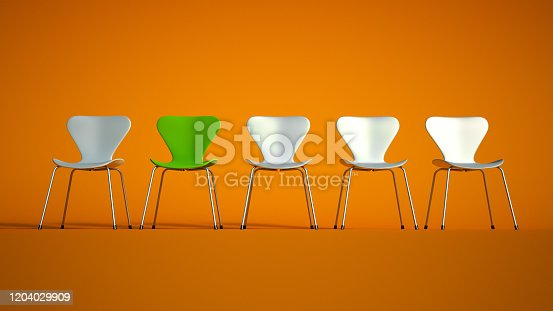3D rendering of a row of plastic and metal chairs in green with a contrasting red one on an orange  background
