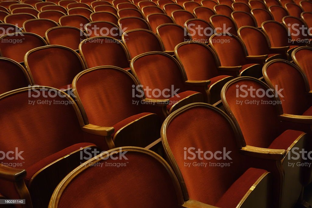 Chairs in theatre stock photo