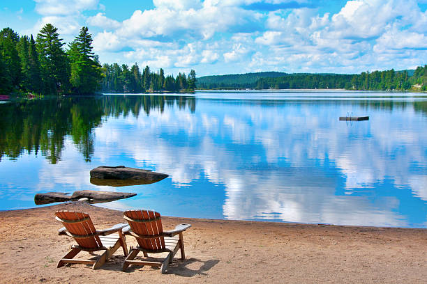 chairs lake shore - meeroever stockfoto's en -beelden