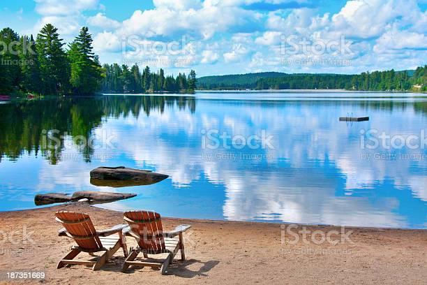 Photo of chairs lake shore