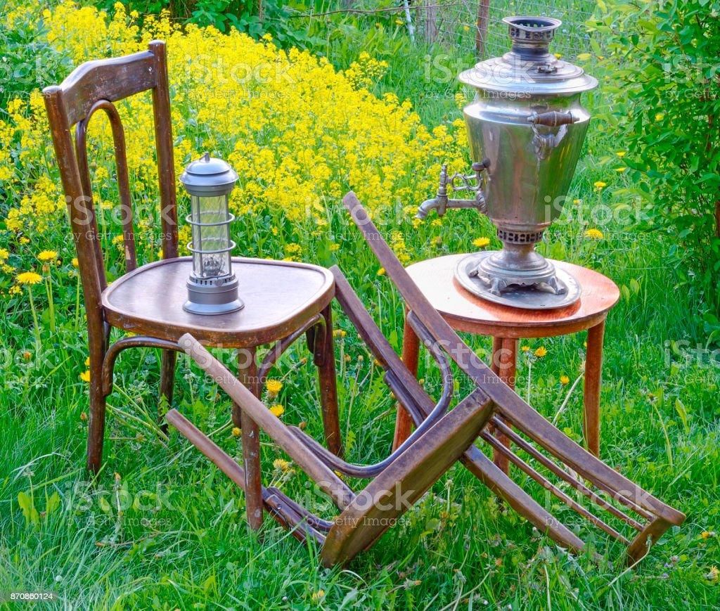 chairs lamp kerosene samovar stock photo