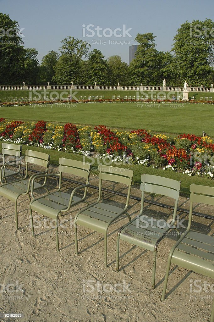 Chairs, Luxembourg Gardens, Paris, France. royalty-free stock photo