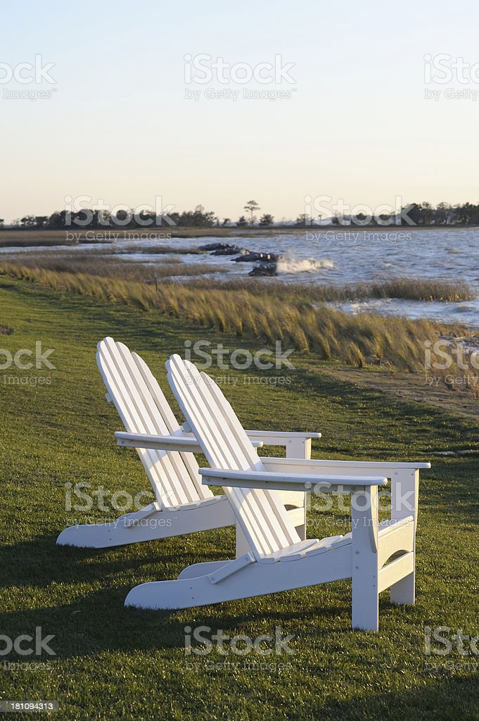 Chairs on Scenic Coast royalty-free stock photo