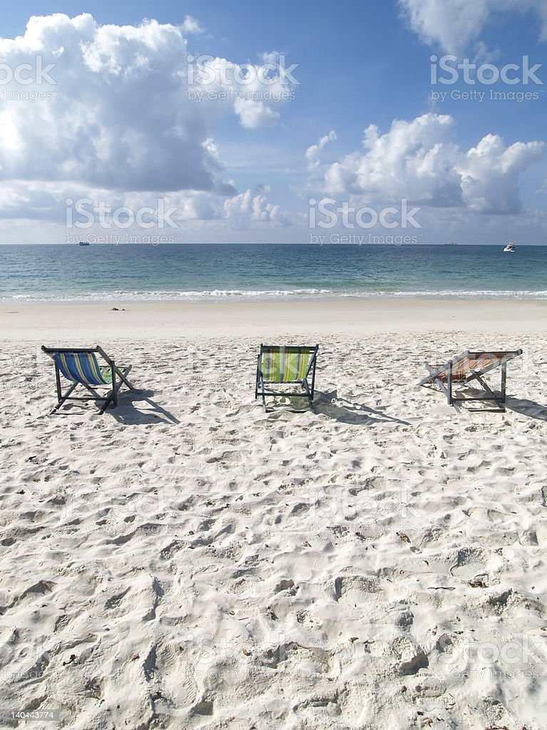 Chairs on the beach royalty-free stock photo