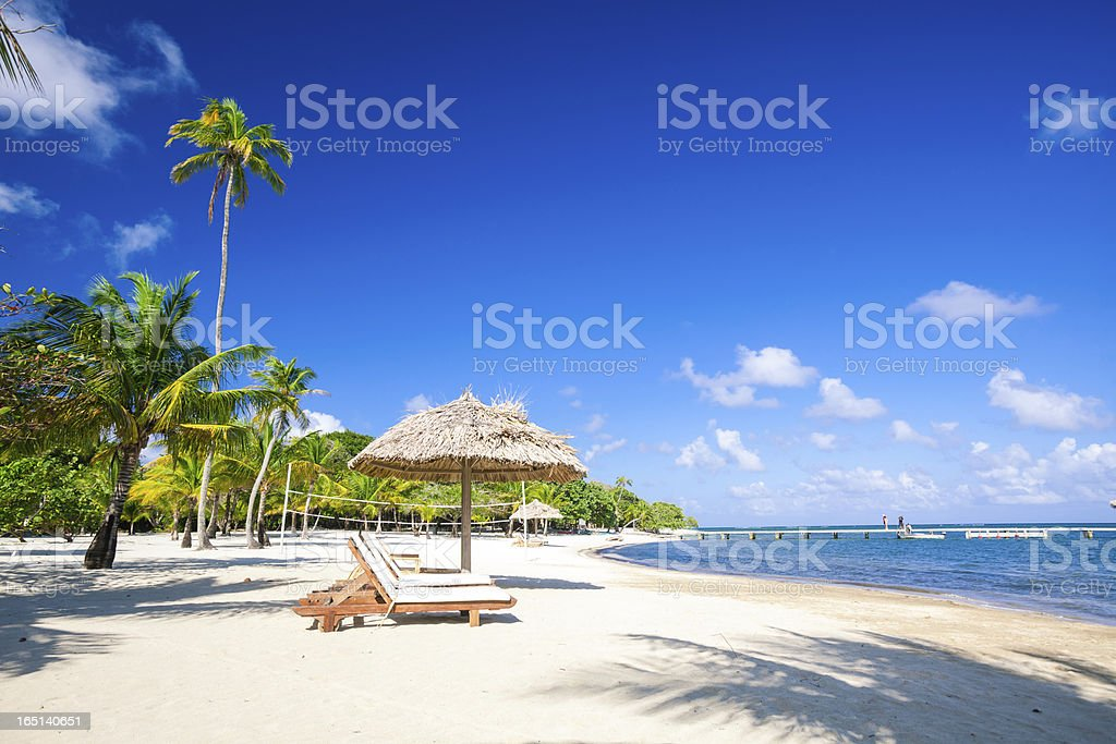 Chairs on tropical beach stock photo