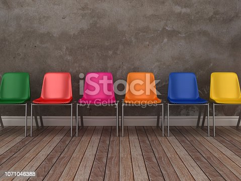 Chairs row on Floor - 3D Rendering