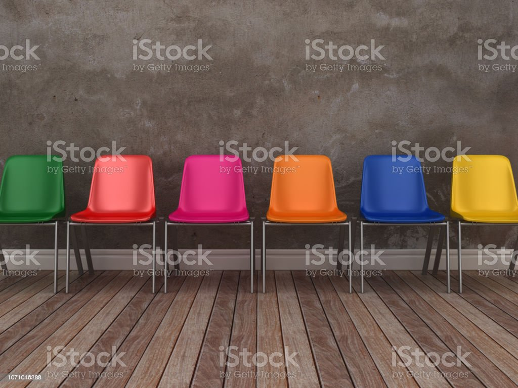 Chairs row on Floor - 3D Rendering stock photo